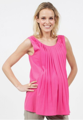 Bove by Spring Maternity pink Woven Sleeveless Antonia Pleats Top ITN5402 SP010AA48SBFSG_1