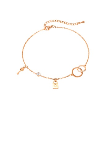 Glamorousky white Fashion and Simple Plated Rose Gold Geometric Circle Lock 316L Stainless Steel Anklet with Cubic Zirconia D3B93AC2D21ED1GS_1