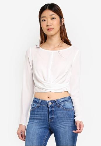 Miss Selfridge white Ivory Twist Front Long Sleeve Top 67D4AAAEDB15D1GS_1