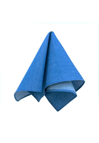 Caveman blue Blue Solid Pocket Square 9FEBEAC513A88BGS_1