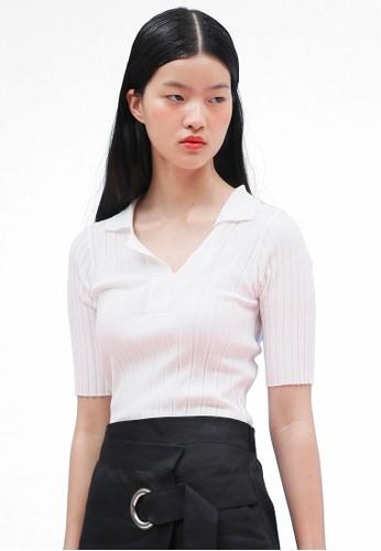 韓式風格esprit 西裝V 口襯衫領針織上衣, 服飾, 上衣