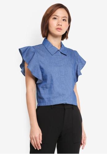 ZALORA blue Ruffle Sleeves Shirt 4B348AAB3B7E97GS_1
