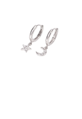 Glamorousky white 925 Sterling Silver Fashion Simple Star and Moon Asymmetric Stud Earrings with Cubic Zirconia 5E89FAC863D9CDGS_1
