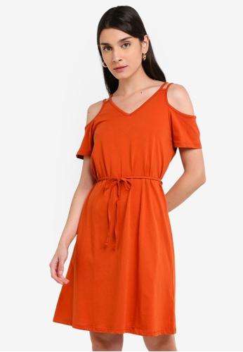 LC Waikiki 橘色 Short-袖 V領洋裝 With 後Detail 3127FAA889DF37GS_1