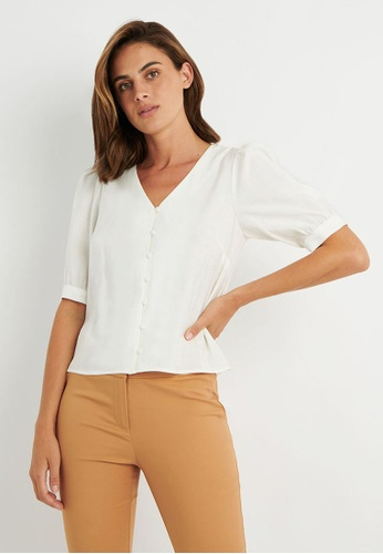 FORCAST white FORCAST Bree Button -Up Blouse 8F089AAFB569E1GS_1