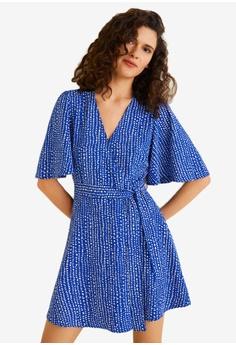 ad0a636aea1 Mango blue Printed Bow Dress 6628CAABFCF966GS 1