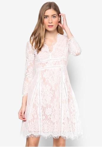 Lesley's 全蕾絲覆蓋長袖連身裙,esprit地址 服飾, 洋裝