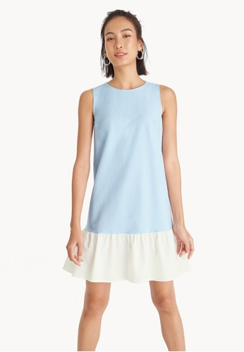 b38b802095559 Buy Pomelo Contrast Frill Sleeveless Dress - Blue Online on ZALORA ...