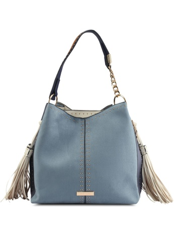 River Island blue Studded Tassel Side Slouch Tote Bag 87D00AC0781F51GS_1