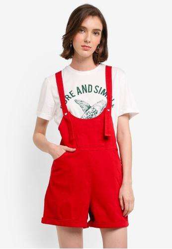 Mango red Pocket Denim Pinafore Dress 69A9EAAB8B447AGS_1