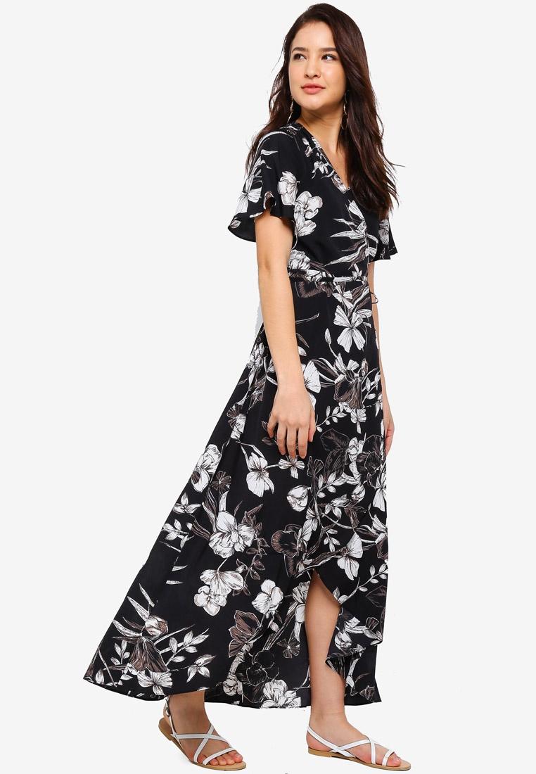Wrap Dress Black Asymmetrical Hem Floral ZALORA v5qwfOxA