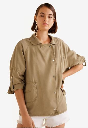 Mango brown Pocketed Soft Fabric Jacket 56F1DAABD84014GS_1