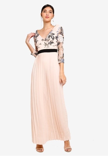 Little Mistress pink and multi Floral Contrast Maxi Dress D6853AA2AA88EEGS_1