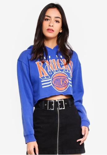 TOPSHOP blue Knicks Crop Hoodie E27E0AAA00CE22GS_1