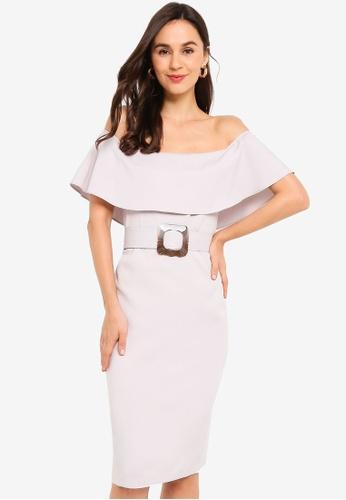 ZALORA grey Off Shoulder Sheath Dress with Belt 9987EAA53FA5C1GS_1