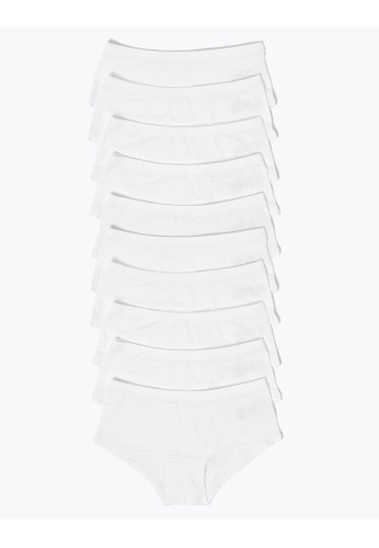 MARKS & SPENCER white M&S 10 Pack Cotton With Stretch Shorts 652EFKAE7E6559GS_1