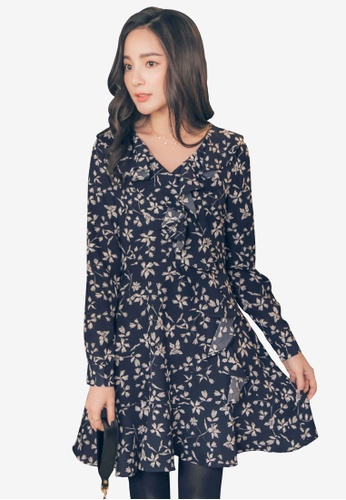 YOCO multi and navy Frill & Floral Skater Dress 8A5D9AAEABA71AGS_1