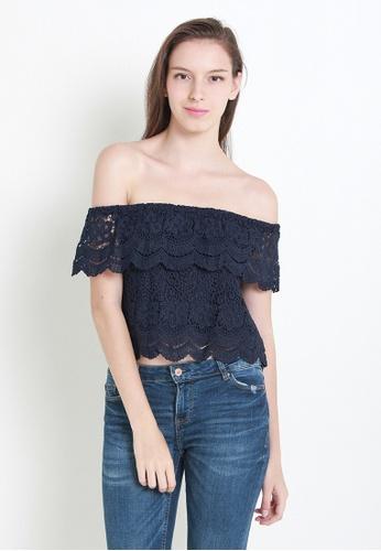 Leline Style blue Carolina Crochet Off Shoulder Blouse LE802AA04IULSG_1