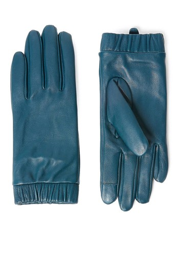 MARKS & SPENCER green Touchscreen Leather Cuffed Gloves F0690AC8B77FEAGS_1