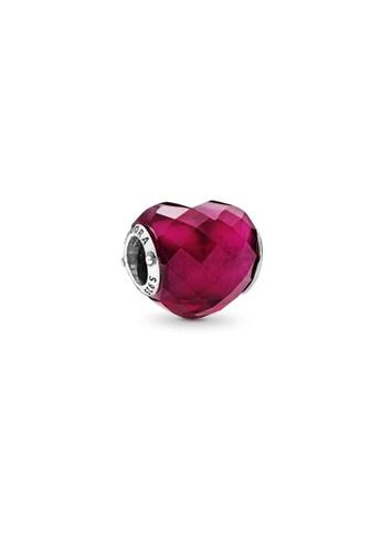PANDORA silver Pandora Fuchsia Pink Heart Charm E81EEACDB88439GS_1