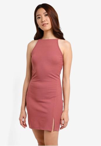 Something Borrowed pink Cut-In-Slit Bodycon Dress 513EBAAE6A7779GS_1