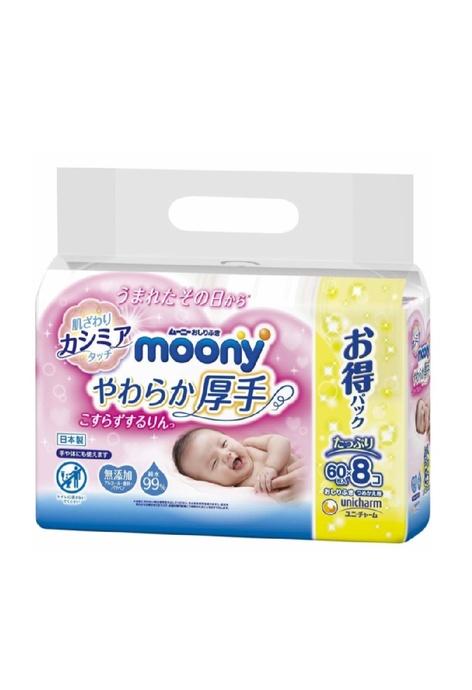 Moony Moony - 嬰兒加厚濕紙巾 (60張) x 8包庄