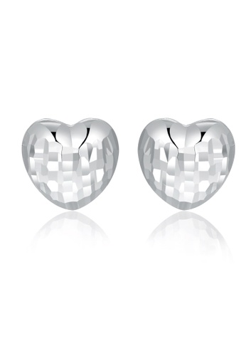MaBelle silver 14K White Gold Faceted Heart Stud Earrings 18CC2AC2ACC4DCGS_1