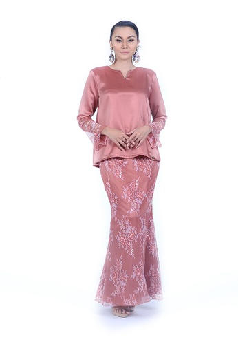 Kurung Kedah Lace from Rumah Kebaya Bangsar in Orange