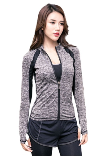 B-Code grey ZYG3050-Lady Quick Drying Running Fitness Yoga Sports Jacket 572E3AA2F5DC47GS_1
