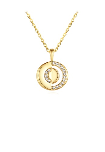 Glamorousky white Simple and Fashion Plated Gold Hollow Geometric Round Pendant with Cubic Zirconia and Necklace AFD91AC010AEF2GS_1