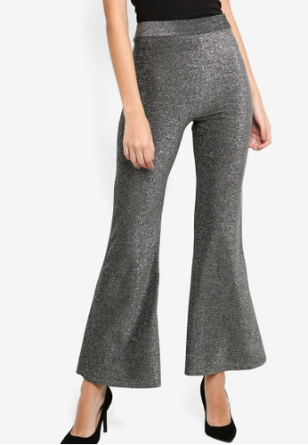 Lavish Alice silver Metallic Knit Flare Trousers FBBF7AAE67E164GS_1