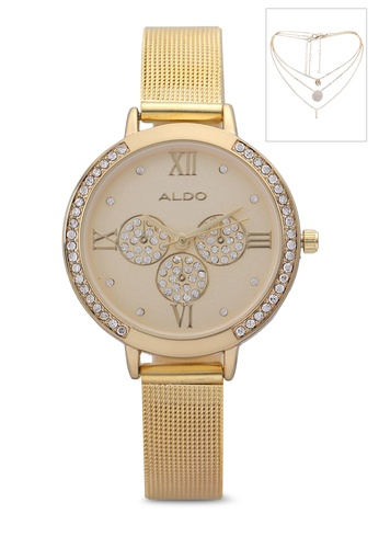 ALDO gold Rhear Watch And Necklace Set 7868CACC02201DGS_1