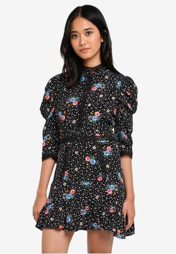 TOPSHOP black Petite Star Floral Lace Mini Dress 2B38BAA30A1998GS_1