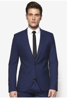 Blue Textured Ultra Skinny Fit Suit Jacket