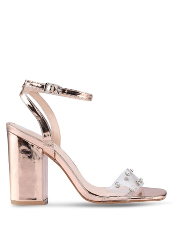 Public Desire pink and gold Studio Perspex With Gems Detail Heels A72DDSH9EB23F5GS_1