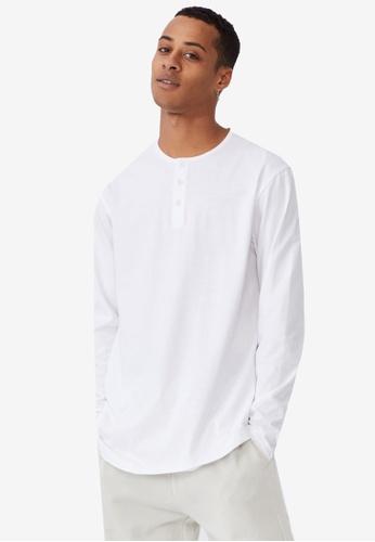 Cotton On white Longline Scoop Henley Long Sleeve T-Shirt D87BFAA02F41B9GS_1