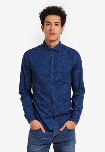 MANGO Man blue Slim-Fit Printed Denim Shirt 102A6AA4CF6C78GS_1