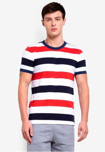 UniqTee 黑色 Striped Tshirt 0469FAAF8CE79BGS_1
