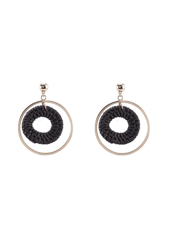 Forever New black and gold Ren Raffia Circle Drop Earrings B9634AC338EB4AGS_1