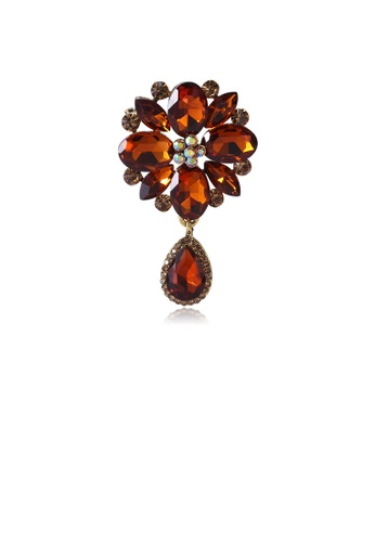 Glamorousky brown Fashion and Elegant Plated Gold Geometric Flower Brooch with Brown Cubic Zirconia EA940AC1C333D8GS_1