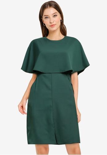 ZALORA WORK green Cape Sheath Dress 88A56AA2B0D055GS_1