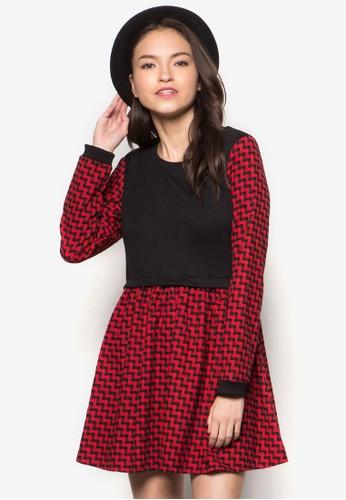 格紋拼接長袖洋裝, 服飾, esprit retail洋裝
