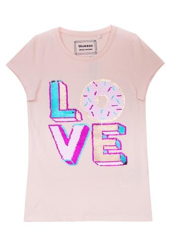 Bluezoo Kids Girls/' Grey Faux Fur /'Love/' T-Shirt