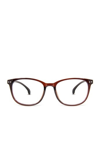 ASLLY brown Time traveler│Anti-blue light glasses with brown thick rectangle frame A93ABGL64E0736GS_1