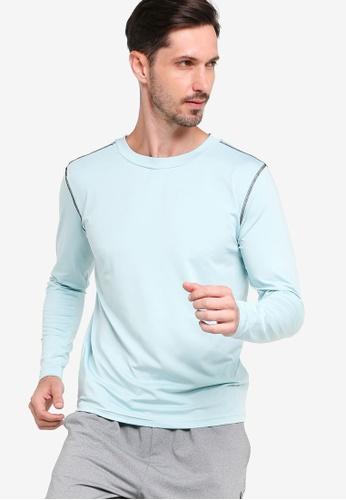 ZALORA ACTIVE blue Contrast Stitching Long Sleeve T-Shirt 11629AA36C282BGS_1