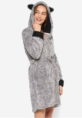 雙口袋毛動物耳朵連esprit retail帽睡袍, 服飾, 服飾
