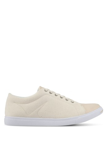 ZALORA beige Mixed Material Canvas Sneakers B675ESH08950AFGS_1