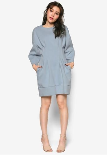 韓時尚寬袖esprit hk腰飾洋裝, 服飾, 洋裝