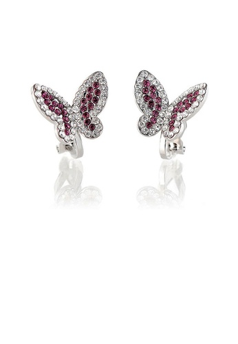 Glamorousky silver Elegant Butterfly Earring with Purple and Silver Austrian Element Crystals (Non Piercing Earrings) C5E84ACEDAA10CGS_1