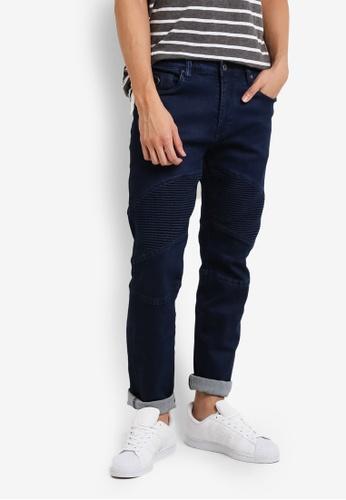 CR7 blue Type C Slim Straight Moto Slim Fit Jeans CR532AA94EEZMY_1
